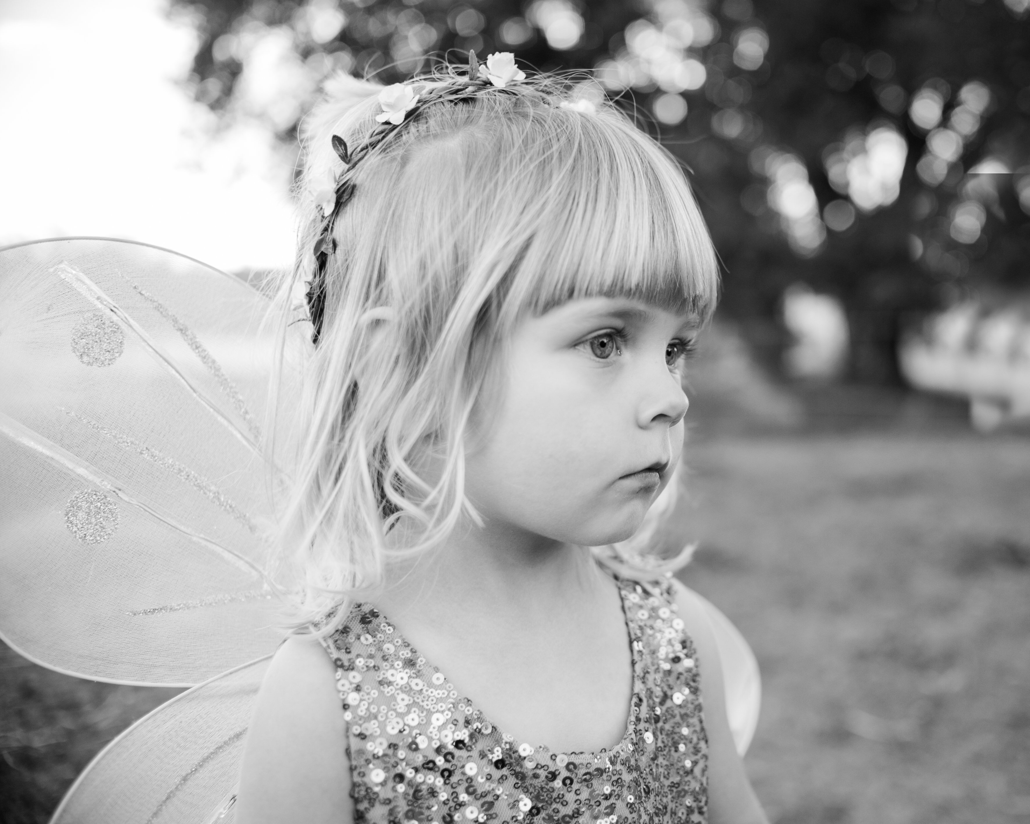 Fairy princess in flower crown poses in an open field in Creston California.