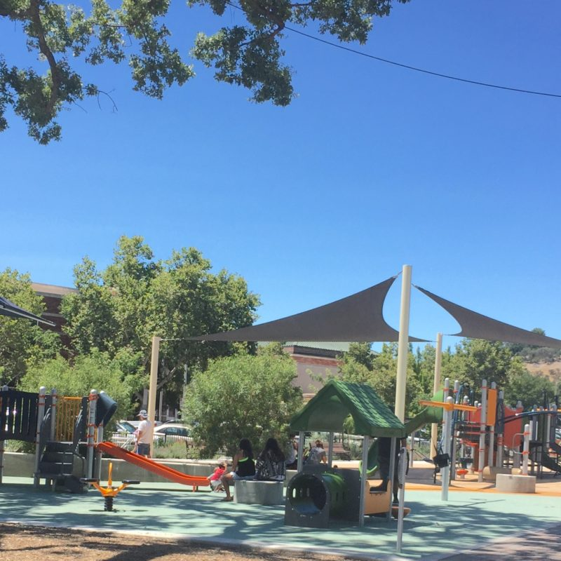 Downtown City Park Playground has shade in Paso Robles California