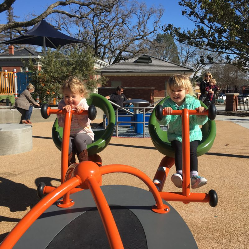 4 seat seesaw at Paso Robles Downtown City Park playground