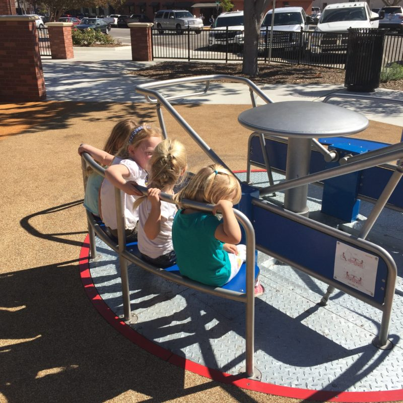 New and modern merry-go-round at the Paso Robles Downtown City Park Playground