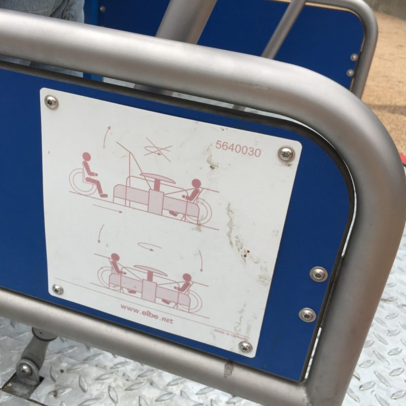 Diagram of the wheelchair accessible merry-go-round at the Paso Robles Downtown City Park Playground