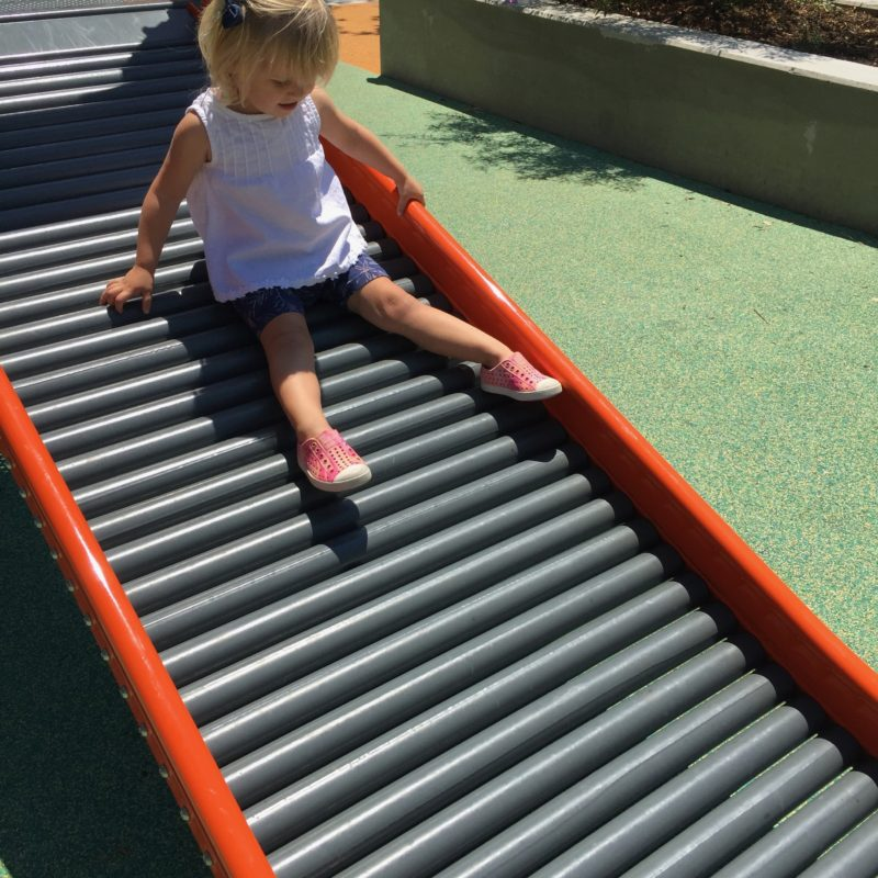 Little kid slide at Paso Robles Downtown City Park playground