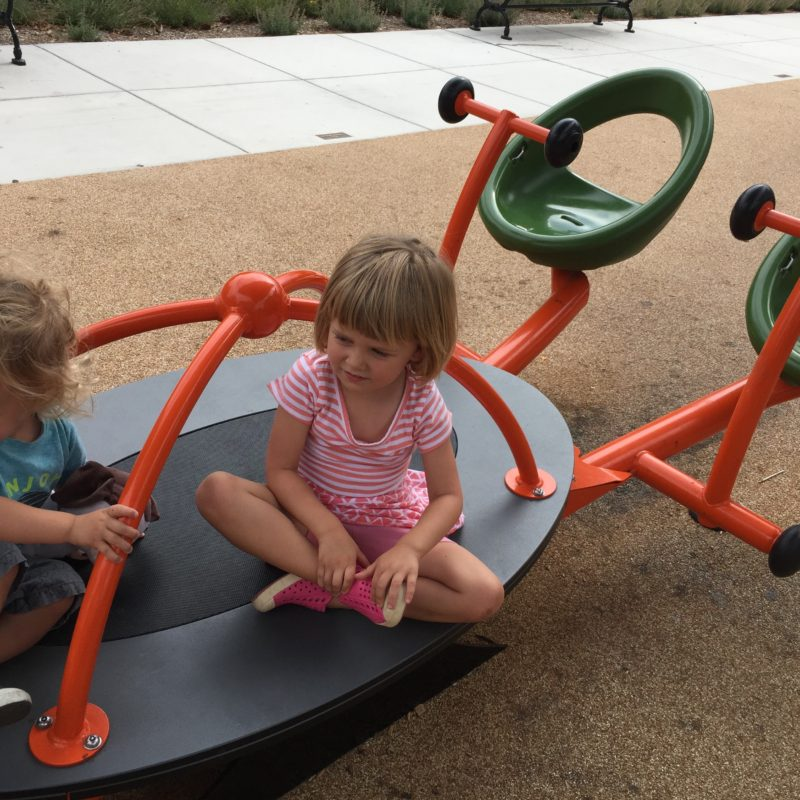 Middle seat on seesaw at Paso Robles Downtown City Park playground
