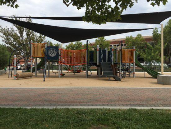 New playground at Paso Robles Downtown City Park landscape angle