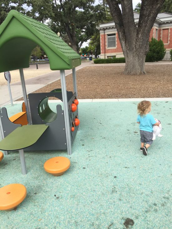 Musical tot lot playhouse at Paso Robles Downtown City Park playground