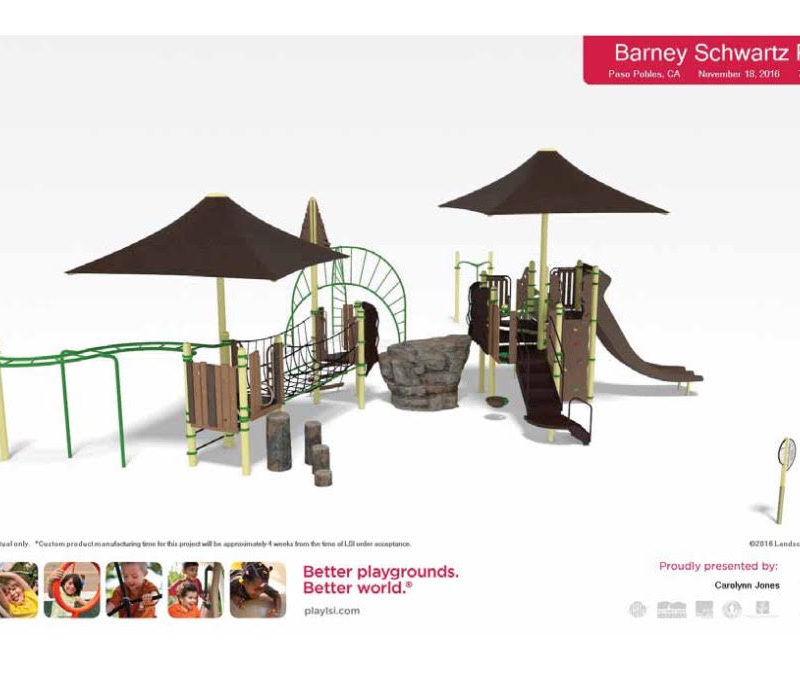 Rendering for the Barney Schwartz Park New Playground in Paso Robles California