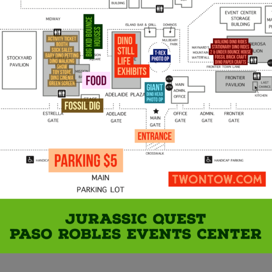 Jurassic Quest Map at the Paso Robles Event Center in Paso Robles California