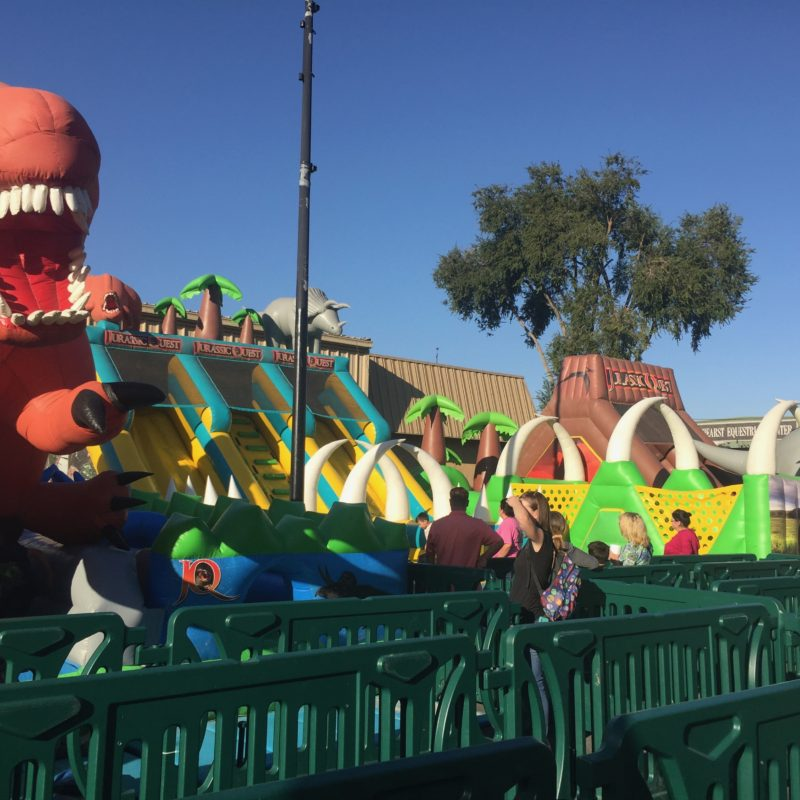 Jurassic Quest Paso Robles bounce house line