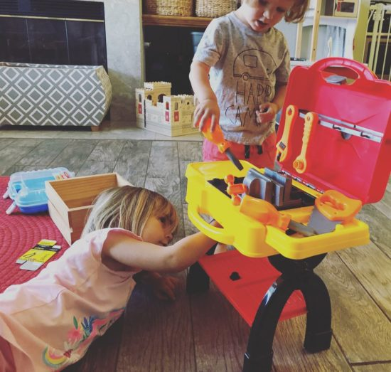 Two in Tow & On The Go Review_PicassoTiles Toy Tool Workshop Work Bench Set 1