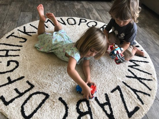 Two In Tow & On The Go Review:Lorena Canals Rugs Round ABC Natural Black_1