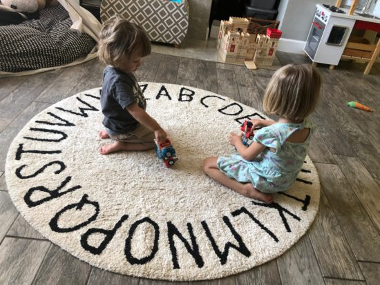 Two In Tow & On The Go Review:Lorena Canals Rugs Round ABC Natural Black_2