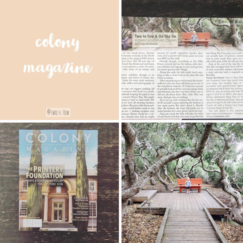 Two in Tow & On THe Go featured in Atascadero's new Colony Magazine