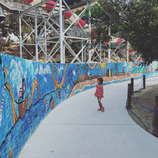 Ravine waterpark wall mural of beach scenes