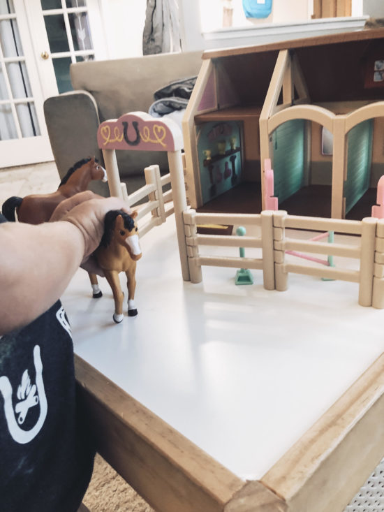 Toy Review: Lakeshore Learning Royal Kingdom Adventure Castle & Precious Ponies Playset_feeding trough