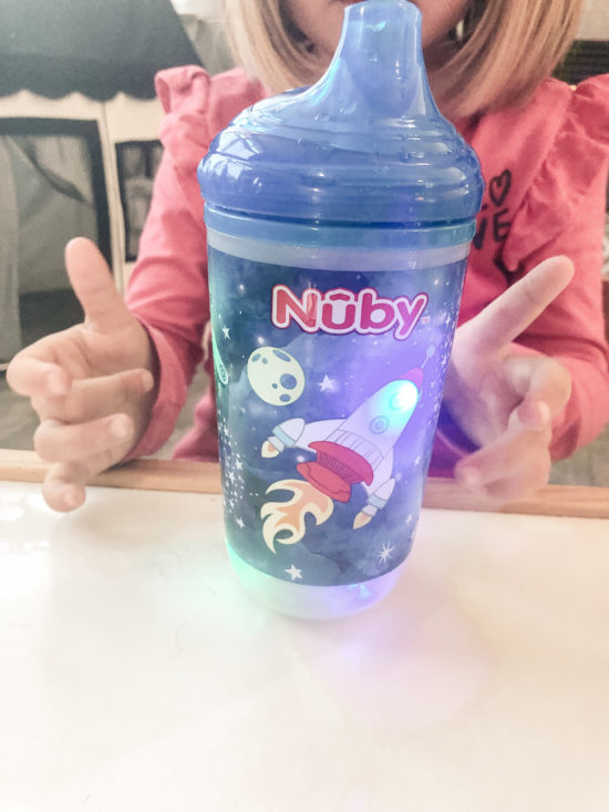 NUBY Light-Up Cup Review of cup with a rocket ship