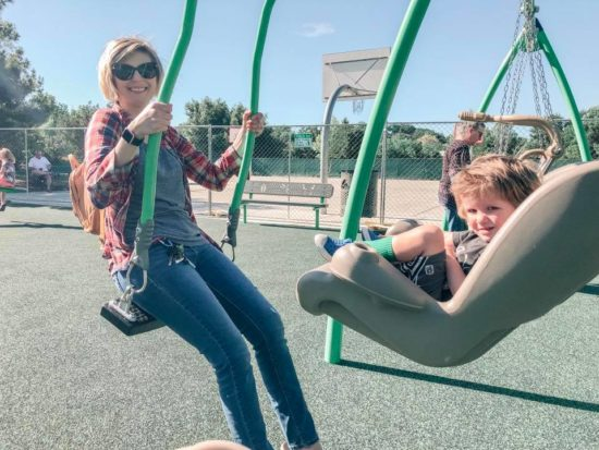 Review: Joy Playground,Atascadero Mom and Young boy on double swing
