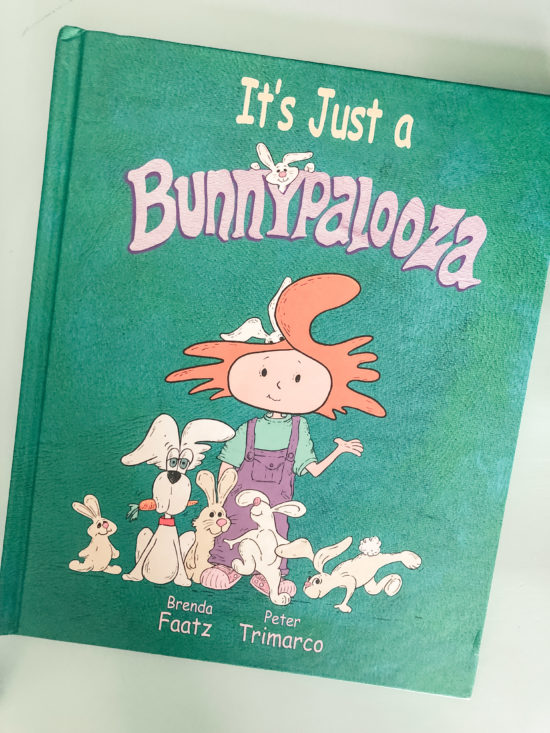 Book Review: It's Just a Bunnypalooza green book with red headed Lizzy and her bunny friends