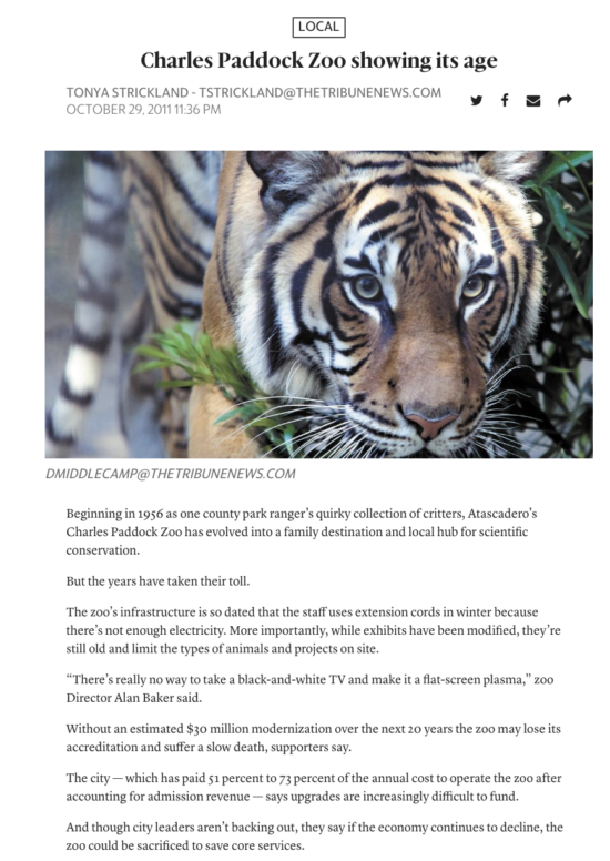 Atascadero Charles Paddock Zoo Tonya Strickland article