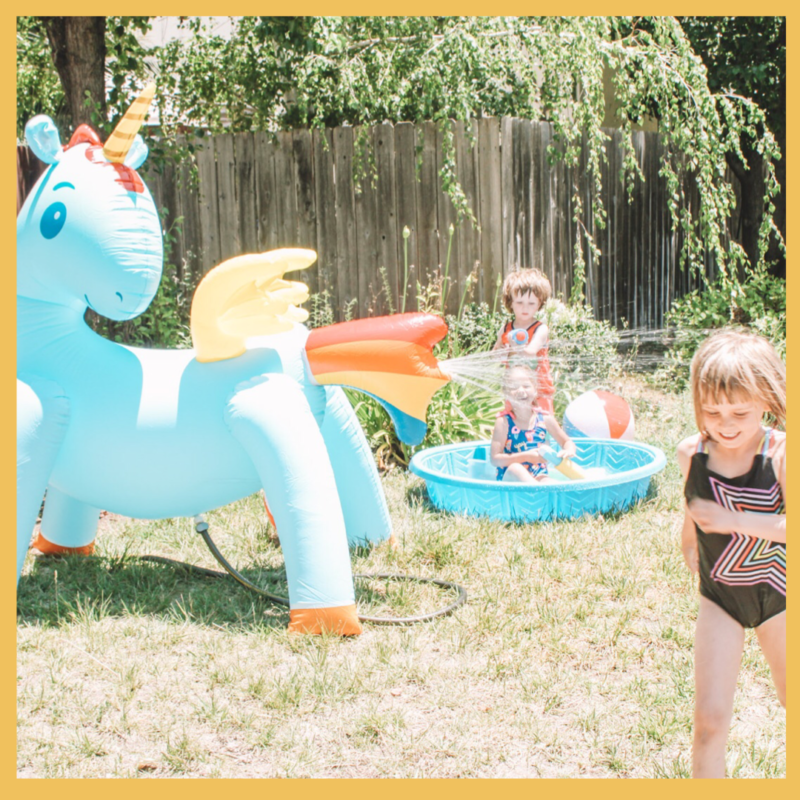 5-foot inflatable Unicorn Lawn Sprinkler Review, JumpOff Jo c