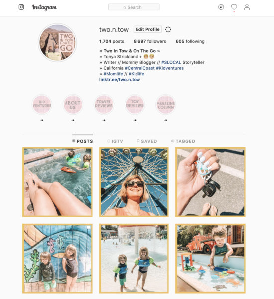 Mommy blogger's instagram page