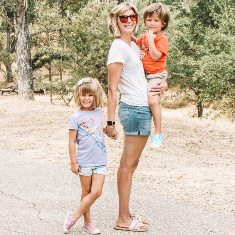 Mom with two kiddos on a trail