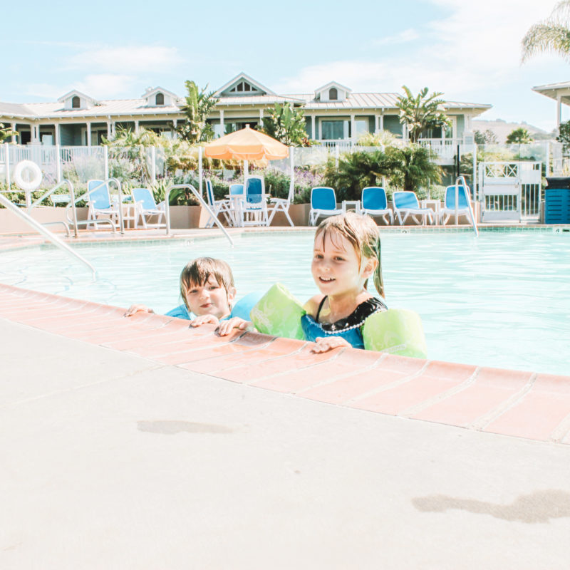 Two kids swimming Review of Avila Lighthouse Suites, Avila Beach