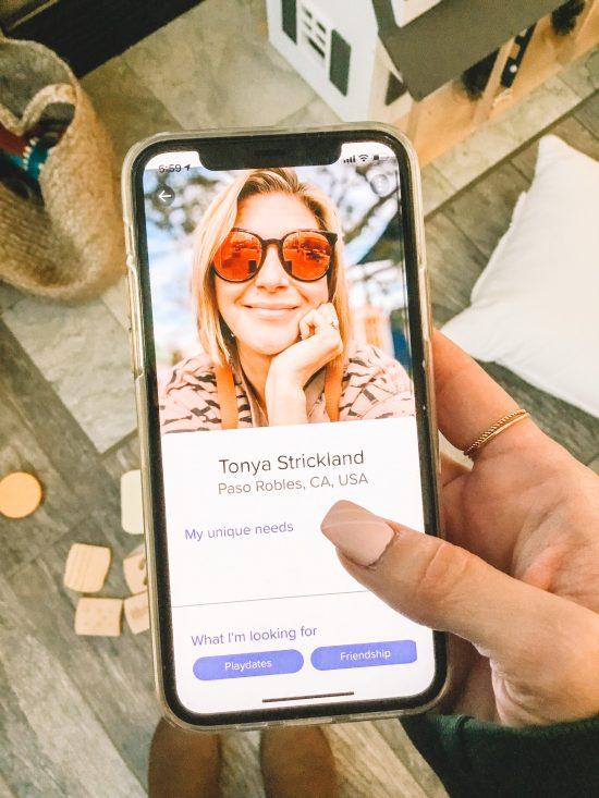SocialMama App profile of woman in sunglasses