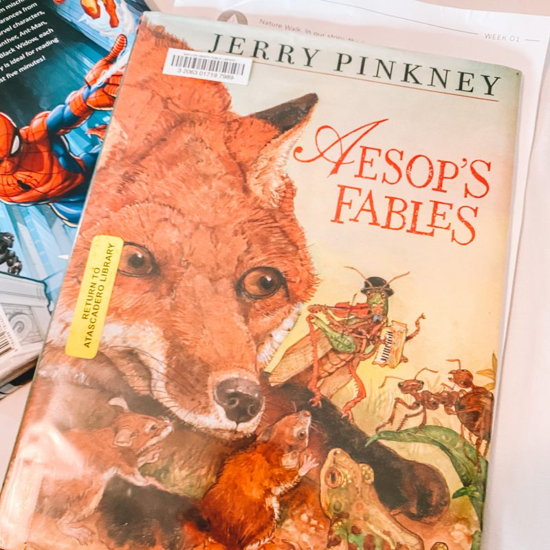 Aesop's Fables book with fox on the cover