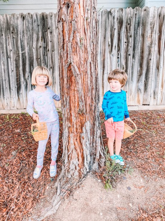 Two kids by a pine tree trunk