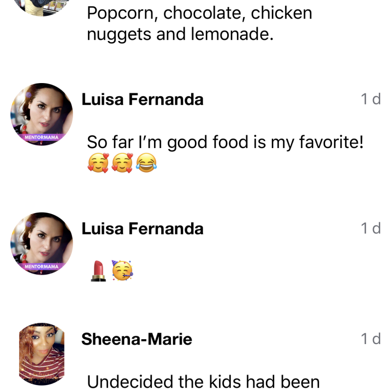 SocialMama App post about comfort food responses