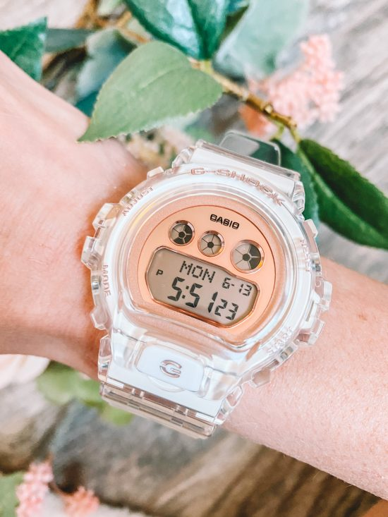 Casio clear and rose gold watch