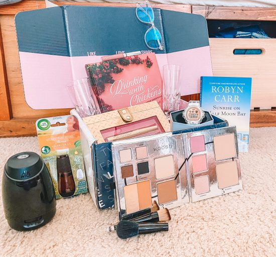 Box of Mother's Day Gifts of books and makeup
