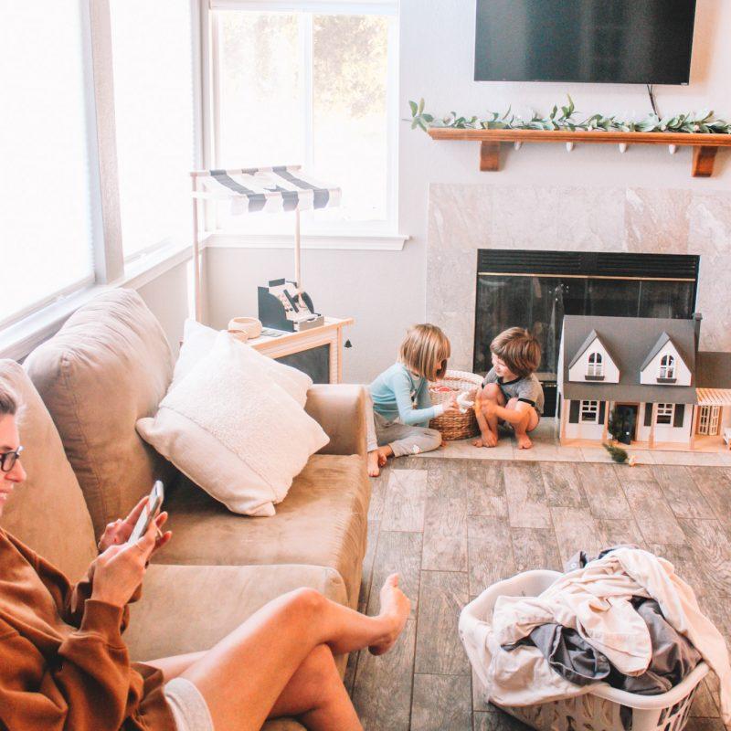 Mom in livingroom on phone