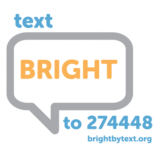 Bright By Text Logo in little caption bubble in yellow, grey and blue