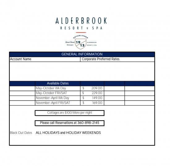Alderbrook Resort Promo Code file