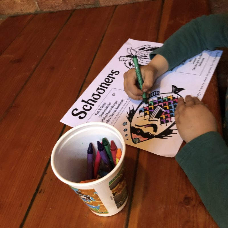kids coloring a fish page