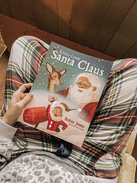 Book cover with Santa Claus and a letter