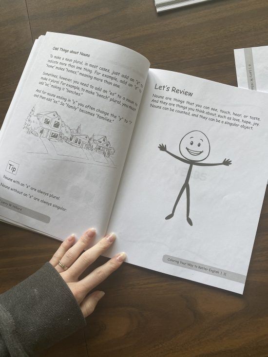 Inside of a stick figure coloring book