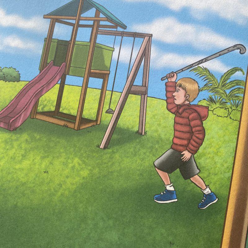 drawing of boy playing in a backyard