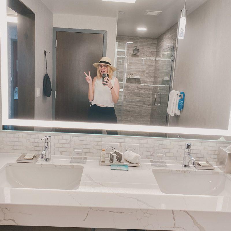 hotel bathroom mirror selfie