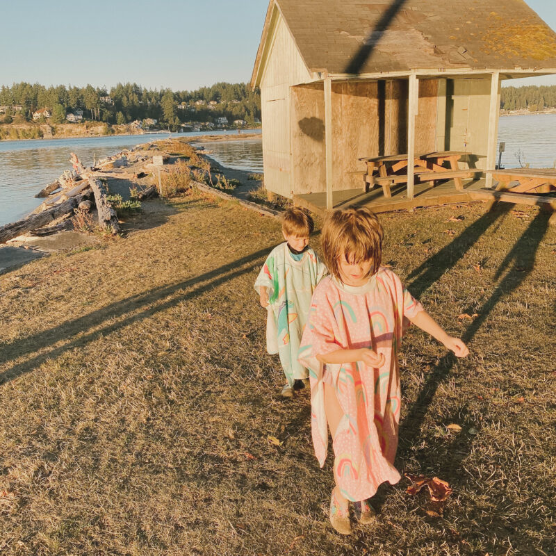 kids on the shore